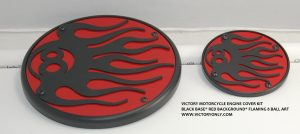 VICTORY MOTORCYCLE ENGINE COVER FLAMING 8 BALL