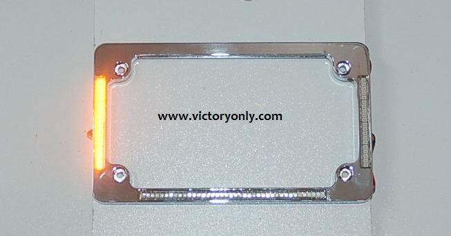victory motorcycle parts license plate frame chrome turn signals brake light - Motorcycle Plate Frame