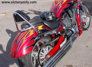VICTORY JACKPOT CHROME Complete Sissy bar BACKREST Extreme, BLACK. For Victory Vegas Jackpot / Hammer 8-Ball /