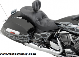"BACKREST Yes BACKREST CAPABLE Yes COLOR Black FRONT DIMENSION 15 3/4"" HEATED No MADE IN THE U.S.A. Yes MATERIAL Foam,Vinyl POSITION Front,Rear REAR DIMENSION 15"" W SIZE Standard SKIRT/EDGE Plain SPECIFIC APPLICATION Yes STITCH Pillow STYLE Custom Replacement TYPE Seat"