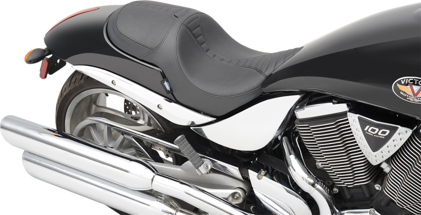 Victory Motorcycle Seat With Optional Backrest Cabalero Hammer - Vinyl for motorcycle seat