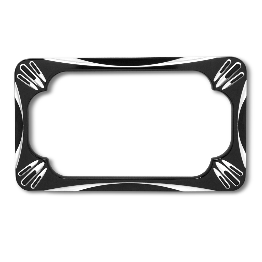 License Plate Frame - Black Contrast Cut, Chrome Victory Motorcycle ...