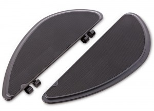"Our Smoothie fusion series floorboards feature sculpted billet aluminum with high traction rubber for clean styling and high foot traction. These boards have 3 different mounting locations allowing you to adjust the board to your preferred riding position. Features: Machined from billet aluminum Knurled rubber for optimum foot grip 3 different mounting locations, giving 3"" of adjustability. This allows you to adjust the floorboard forward or back to obtain your preferred riding position. Matching passenger boards are available. Black anodize finish. Measurements: Driver Floorboards : 13.8""L x 5.0""W."