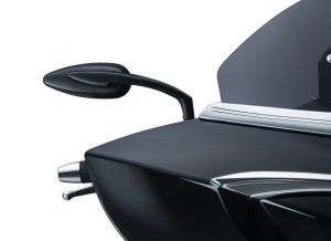 """The small, streamlined die-cast aluminum stems and heads on Küryakyn Teardrop Mirrors provide a sleek custom appearance while keeping functionality intact thanks to the convex glass that improves rear visibility. The pivot ball and socket provide silky smooth adjustment and secure holding power. The mirror heads measure 5"""" wide x 2"""" tall, and the stems position the pivot ball 5"""" out and 3"""" above the mounting location. Available in chrome or satin black finishes."""
