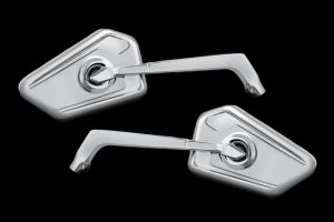 Bahn 1768 Chrome Mirrors (1768) by Bahn by Kuryakyn - Ornate styling fused with function. Stylish high quality forged and machined