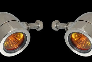 Bullet Lights, LED, Small Flat Bezel, Chrome Body, Amber Lens