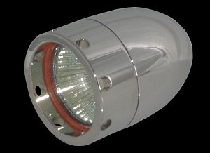 Bullet Lights, LED, Small Flat Bezel w/Holes, Chrome Body