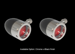Bullet Lights, Large Flat Bezel with Holes, Black and Chrome Body