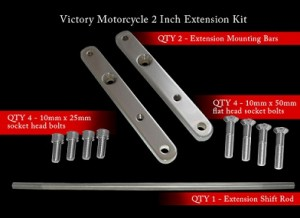 Victory 2 inch Forward Peg Extension Forward Control Kit Black or Chrome