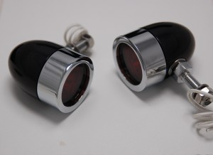 Bullet Lights, LED, Small Flat Bezel, Black and Chrome Body, Amber Lens
