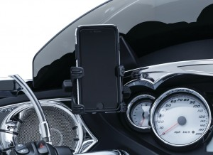 "The Tech-Connect Fairing Mount for Victory allows positioning of iPhones, iPods, GPS, smartphones and other small electronic device strategically on Victory inner dashes for easy access and visibility while on the road. The adjustable swivel head offers perfect positioning for any rider and disconnects in seconds when you reach your destination.The included Standard Device Holder will accommodate devices measuring 1-5/8"" to 3-5/8"" Wide. Designed to mount behind the windshield mounting screw on Cross Country and Magnum models."