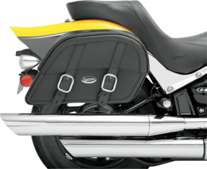 """Clean-styled saddlebags available in Throw-Over or Custom-Fit mounting Throw-Over style includes a multi-adjustable yoke which hangs the bags from the fender or seat; also includes a quick-release bag connection to take off bags without disturbing the yoke or seat and a rear-mounted carry handle Custom-Fit style has a strong, smooth backside and no yoke, designed to allow custom mounting to your motorcycle Made of a durable combination of materials including genuine leather, weather-resistant SaddleHyde™, chrome-plated brass and tough plastic frame All feature 1 1/2"""" chrome-plated buckles and genuine leather straps with lockable, quick-release hidden buckles Extra-strong plastic back works perfectly with the S4 Quick-Disconnect Mounting System S4 saddlebag support brackets (sold separately) are strongly recommended"""