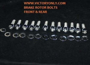 Brake Rotor Bolts Chrome VICTORY MOTORCYCLE FRONT BRAKE ROTOR REAR ROTOR BOLT CHROME KIT