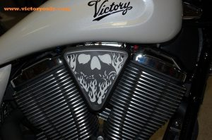 3d skull wedge Installed Victory Motorcycle Black base, White Backer, Black Artwork