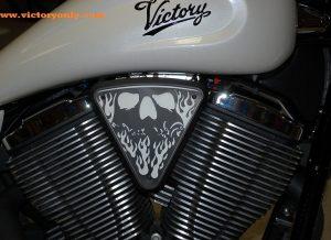 3d skull wedge Installed Victory Motorcycle Black base, White Backer, Black Artwork
