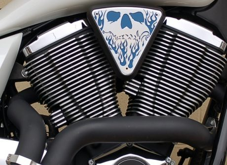 3d skull wedge Installed Victory Motorcycle Black base Blue Backer Chrome Artwork