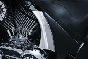 Mask the rear motor mounts and instantly transform the look of your bagger with the Side Panel Scoops for Victory. Simple installation using high-strength and high-temp 3M® VHB™ adhesive delivers a clean chrome upgrade to the side panel covers and the motor's back end.