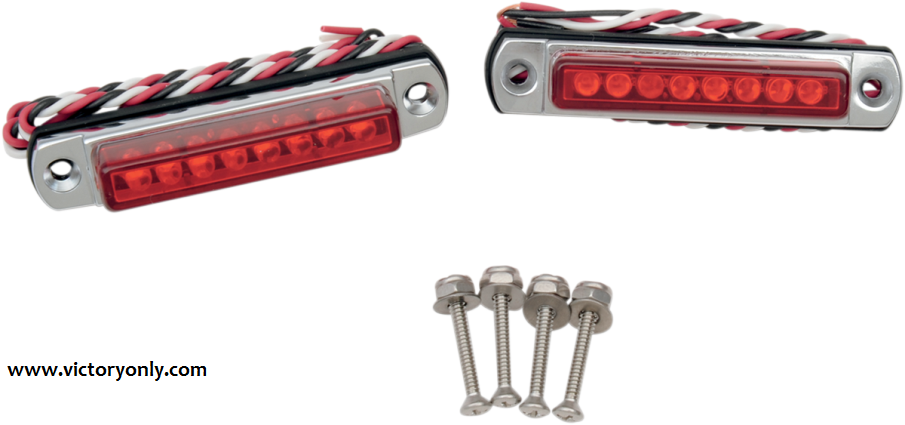 Led light bar black chrome mount great custom victory motorcycle leds in red or amber with chrome or powder coated black die cast aloadofball Image collections