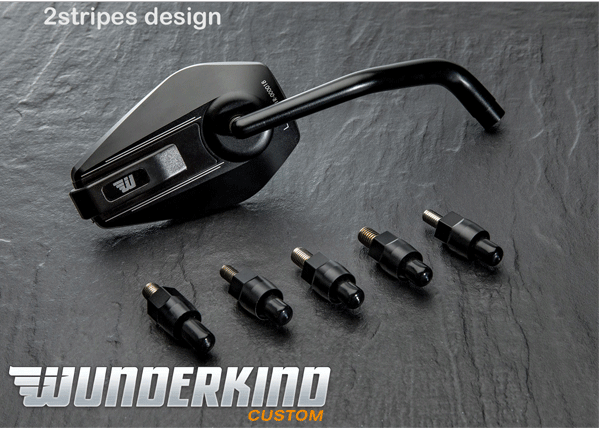 Wunderkind Universal Motorcycle handlebar mirror available individually as left or right-hand side or of course as a pair. The head of the housing is made of CNC 3D milled aluminium and mirror glass itself is tinted and convex (reduces dazzlings). The arm of the mirror is always black. The mirror housing is available in black, silver and in the design 2Stripes with contrast cut lines on the rear 5 adaptors included All Wunderkind products are made to order and can take 10-14 days UK delivery. Integrated in the housing: Exchangeable impact protector made of black plastic. This item prevents the mirror housing against ugly scratches caused by bumping on the house or garage wall when parking the bike, for instance. The 'arm' of the mirror is elbowed twice. Thus, you have more movement freedom and super three-dimensional optics.