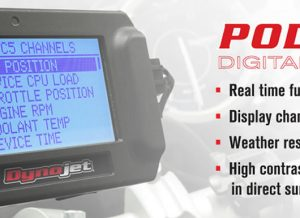 The POD-300 is an accessory display for Dynojet devices that support DJ-CAN; including the popular Power Commander V, AutoTune, WideBand 2, and CMD. Simply connect the included CAN cable and you're ready to go; there's no need to tap power or deal with other messy connections. Need to adjust your tune in the field, or datalog the supported channels to further refine your tune? No problem, with the POD-300 you're just a few clicks away from taking advantage of the many features with it's easy to use menu system.