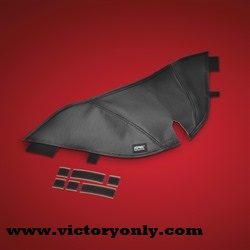 a great way to help protect your gas tank from buckle, zipper, and knee scratches with their new Gas Tank Mini Bra. The first one out is for the Victory Cross Roads, Cross Country and Magnum and wraps around thegas tank between you and the seat, providing a tailored fit design with scratch protection. Securely attaches with hook and loop to the gas tank, allowing easy access for cleaning. Made in the USA.
