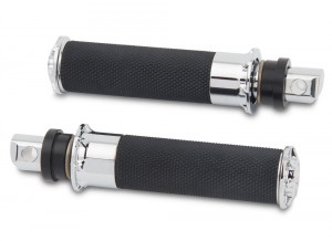 Footpegs Knurled and Linear rubber Chrome