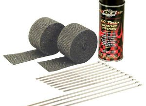 "A simple and effective way to control heat, protect against serious leg burns and improve performance. DEI Pipe wrap kits contain everything needed to wrap a set of pipes on most V-Twin Motorcycles all in one convenient package. Each kit includes two 2"" x 15 foot rolls of Black exhaust wrap, eight 8"" & four 14"" stainless steel Locking Ties to secure wrap and Black HT Silicone Coating spray that penetrates, seals, protects and preserves wrap. A proprietary coating is applied to all DEI wrap to act as a bonding agent and to increase durability levels under extreme heat."