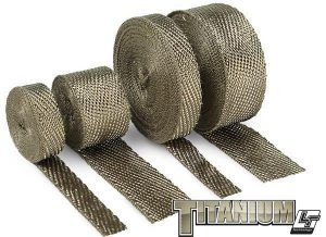 Titanium exhaust wrap, with LR Technology, is made from pulverized lava rock and stranded into a fiber material and woven into a proprietary weave. Titanium wrap is engineered to be stronger than most wraps and more durable for improved thermal performance and reliability. Perfect for any automotive or motorcycle application! Withstands 1800˚F direct/2500˚F intermittent heat Promotes increased flow for improved performance Reduces temperature & vibration breakdown Extremely pliable for a tight and secure wrap DEI HT Silicone Coating not required Pre-wetting roll not necessary for wrapping Hi-tech carbon fiber look High resistance to abrasions, oil spills, temperatures and vibration breakdown NOTE: Design Engineering HT Silicone Coating spray is NOT recommended for DEI Titanium wrap. Note of Caution: Wrap is not designed to be removed after it has been through heat cycles. After the fibers have been heated they lose their initial flexibility. This does not reduce the thermal properties of the exhaust wrap. Be aware of this before you decide to remove the wrap. Note about Titanium Exhaust Systems: DEI does NOT recommend wrapping Titanium exhausts. The alloys used in the production of titanium exhaust systems tend to be thin and are designed to dissipate heat quickly. By wrapping the exhaust, the additional heat can make the titanium alloy turn brittle and prone to premature cracking. DEI recommends using alternatives such as our flexible heat shields when seeking to reduce the heat on titanium exhaust systems.