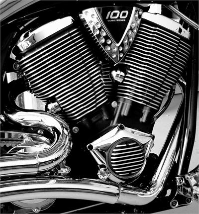 Finned Engine Cover Set - Includes Primary and Derby Cover T6061 Billet Aluminum with stainless steel hardware Made for all Victory Freedom Motors Unmistakable Conquest Signature Engine Covers    Made for all Victory Freedom Motors