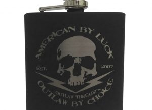 6 oz. stainless steel flask with black powder coating and silver engraving.