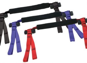 "Patented and designed for safely transporting motorcycles, ATVs, and scooters. Adjustable grip covering adjusts to the grip size and eliminates grip damage One size fits all adjustable handle bar cross-strap adjusts from 22""-34"" Handlebar cross strap can be adjusted to fit in the best position to avoid damage to gauges, cables, start, headlight, horn buttons and clutch and brake levers. The unique 4 hold down points provide full forward, backward and side to side support, which does not allow for play or rocking motion to occur under whipping motions of a trailer. Can be used on flat bed trailer with no side rails due to the unique 4 point ties. No tire chocks required (although they recommended for added security)"