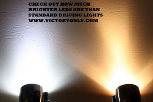 CHECK OUT HOW MUCH BRIGHTER LEDS ARE THAN STANDARD DRIVING LIGHTS WWW.VICTORYONLY.COM