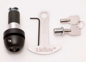"Grip Tip Helmet Lock for 1"" Bars. Comes with 2 keys keys and 1 helmet extender. Chrome lock body."