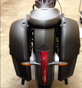 Victory Motorcycles Cross Country, Cross Country Tour, Magnum, Cross Roads and Hard Ball Models Lower Bag Fillers. With these lower Bag you will be able to run a factory trunk or backrest. Unlike our competitors kits where cutting out part of the filler is required leaving an undesirable filler