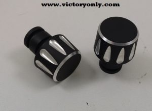 Fit all stock Victory® grips. Fit most aftermarket bars Will not fit Stock Vision Bars Sold 2 to a set Add that custom look to your stock grips with these custom bar ends. These bar ends are made from high strength, 6061-T6 aircraft grade billet aluminum - no die cast stuff here. A durable powder coat finish in a 60% gloss black to perfectly compliment your Victory®. After all of that work, we machine custom designs back into the aluminum for a high contrast finish.
