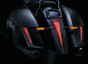 Bring some bite to your bike! Designed to compliment the body lines of the OEM saddlebags and coordinate with the main taillight, these stylish accents function as additional run-brake rear lighting. Peel-and-stick installation with plug-and-play wiring make installation simple. Available in Chrome or Gloss Black finishes.