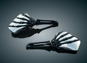 Skeleton Hand Mirrors with Black Stems and Chrome Heads
