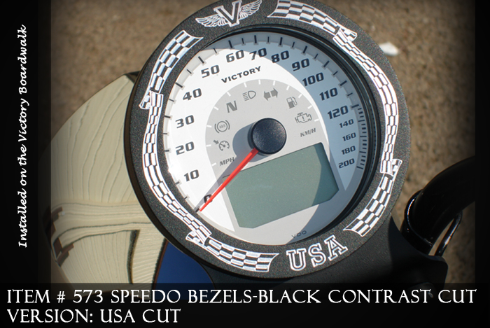 Speedo Bezels CHROME JEWELL CUT High quality billet 6061 T6 and T7 aluminum Dress up your speedo with a Speedo Bezel. Apply on your Stock Victory Motorcycle Speedometer Speedo. To install simply apply RTV and cover your stock speedo and let cure for 24 hours. Victory Motorcycle Speedometer Speedo Available Finishes : Black C