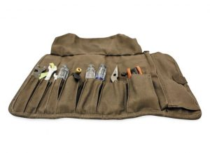 Tool Roll is made of wet-waxed UV-treated cotton canvas that will age and show character over time