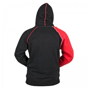 armored motorcycle hoody features a cotton-poly blend frame with YKK Zippers and zippered hand warmer pockets.