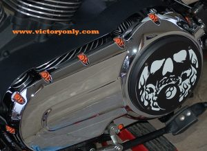 steel bolts candy Orange victory motorcycle cam cover derby cover Vegas, Hammer, Jackpot, Kingpin, Cross Country, Cross Roads, Kingpin Judge, Gunner, Highball, Boardwalk