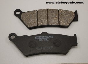 victory motorcycle parts accessories All Braking® brake pads are asbestos- and nickel-free Other brake companies stress friction over other performance factors - Braking uses an organic base material for outstanding friction along with a soft, non-aggressive metal that allows the pad to glide on the disc, providing better control All Braking brake pads are compatible with cast iron, stainless steel and Carbiron® materials and, when used with Braking rotors, provide the greatest control and braking power available SM1 COMPOUND Best performance at lower temperatures Semi-metallic compound - great OE replacement-type pad Offers an aggressive response and is easily identified by the black backing plate FRONT CM55 COMPOUND Offers a powerful initial bite and also a longer pad life Good pad choice for all types of street sport riding conditions Universal, sintered metal compound that is a great OEM upgrade CM66 COMPOUND Provides a very aggressive initial bite combined with a positive lever feeling Unique Braking semi-metallic compound formulated for the most demanding street riding and/or racing conditions Best performance obtained in higher temperatures