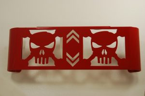 Red Oil Cooler Cover SKULL CHROME PRE 2007