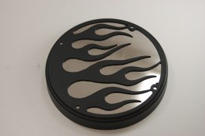 Engine Cover Flame Black and Chrome