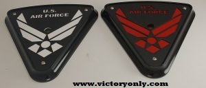 air force cheese wedge replacement victory motorcycle engine cover Air Force design black base, black art, white backer and wedge backer shown