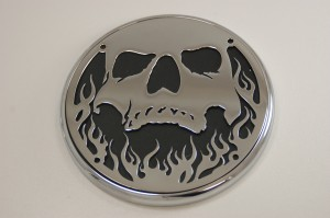Black and Chrome Skull and Flame 3D Victory Motorcycle Accessories