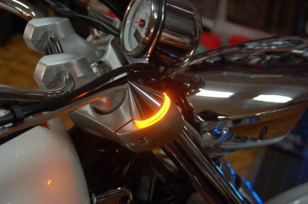 chrome custom led turn signal light spike mount victory vegas, victory hammer, victory jackpot, victory tc, victory motorcycle, victory only exclusive design