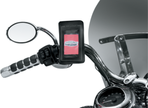 features a quick-release handlebar mount with swivel-adjust head for easy removal and viewing when on the bike