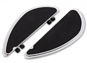 "Our Smoothie fusion series floorboards feature sculpted billet aluminum with high traction rubber for clean styling and high foot traction. These boards have 3 different mounting locations allowing you to adjust the board to your preferred riding position. Features: Machined from billet aluminum Knurled rubber for optimum foot grip 3 different mounting locations, giving 3"" of adjustability. This allows you to adjust the floorboard forward or back to obtain your preferred riding position. Matching passenger boards are available. Chrome finish. Measurements: Driver Floorboards : 13.8""L x 5.0""W."