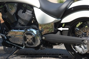 chrome victory motorcycle battery cover installed vegas